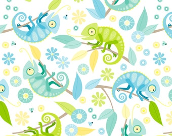Chameleon Fabric - Ditsy Chameleon By Heleenvanbuul - Chameleon Cotton Fabric By The Yard With Spoonflower