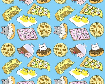 Fried egg fabric etsy for Space pizza fabric