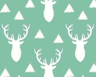 Gender Neutral Deer Fabric - Deer Triangles Vintage Sea Mist By Googoodoll - Woodland Nursery Cotton Fabric By The Yard With Spoonflower