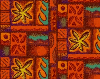 Hawaiian Tiki Tapa Fabric - Wave Flower Barkcloth Red By Woodyworld- Vintage Mid Century Hawaiian Cotton Fabric By The Yard With Spoonflower