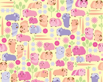 Guinea Pigs Fabric - Pastel Guinea Pig Vegetable Patch By Ebygomm - Guinea Pigs Cotton Fabric By The Yard With Spoonflower