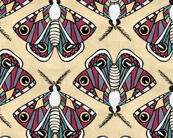 Vintage Moths Fabric - Bright Moths By Pond Ripple - Geometric Insect Bug Moth Wings Cotton Fabric By The Yard With Spoonflower