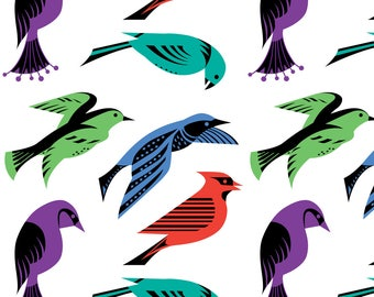 Mod Birds Fabric - Birds Royale By Andibird - Retro Modern Birds Red Blue Green Purple Cotton Fabric By The Yard With Spoonflower
