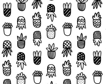 Black and White Succulents Fabric - Black And White Succulent Pots By Minikuosi - Succulents Cotton Fabric By The Yard With Spoonflower