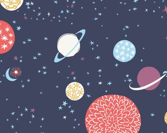 Galaxy Space Fabric - Cosmic Voyage By Chrissievh - Outer Space Kids Planets Galactic Cotton Fabric By The Yard With Spoonflower