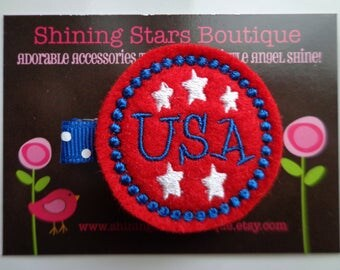Felt Hair Clip - Hair Accessories - Patriotic Red, White, And Blue Embroidered Boutique Felt USA Circle With Stars Hair Clippie