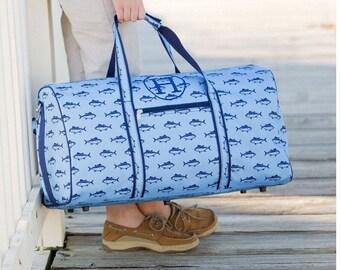 boys duffle bag  , shark fin duffle bag  , monogrammed  duffle bag , personalized duffle bag , kids travel bag , kids camp bag