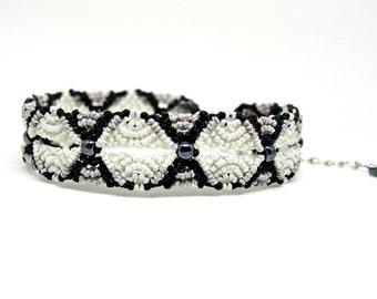 Ripples in Micro Macrame Bracelet in Black and White - Micro Macrame Bracelet - Gray Bracelet - Original Macrame Design