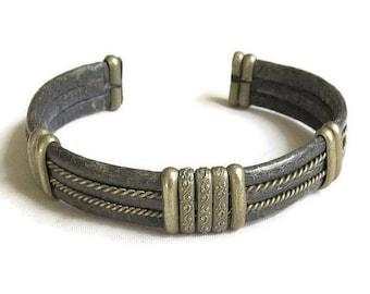 Pewter and Snake Skin Cuff Bracelet Vintage Ethnic Tribal