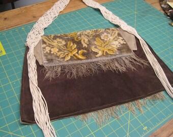 Bohemian bluesgirl Embossed Velvet and Crochet