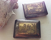 Stag Party Deer Etched Wallet / Cigarette Case in Steampunk Victorian -- Acid Bath Series