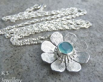 Aqua Chalcedony Textured Daisy Sterling Silver Pendant - Gemstone Flower - Handmade Metalwork Wirework - Garden Floral Petals