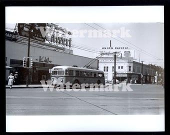 1945 Denver Colorado Reprint Photo Calvert Whiskey Bus Street Light Union Pacific