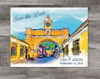 Destination wedding save the date - Guatemala - Santa Catalina Arch, Guatemala - Guatemala map save the date