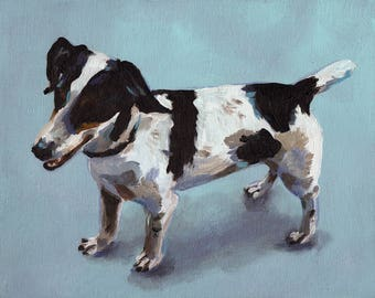 Dog on blue background- ORIGINAL PAINTING on canvas panel