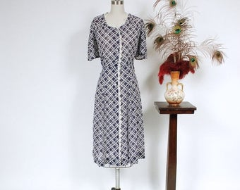 SALE - Vintage 1930s Dress - Ultralight Semi Sheer Cotton Voile 40s Day Dress with Navy and White Basketweave Print