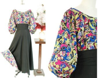 RESERVED ON LAYAWAY Vintage 1940s Dress Set - Incredible Three Piece Silk and Faille 40s Set with High Waist Skirt & Balloon Sleeve Blouse