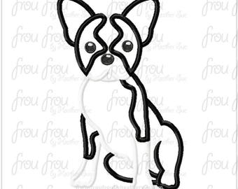 "Boston Terrier Dog Digital Embroidery Design Machine Applique 4""-16"""