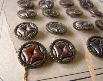 24 Antique Victorian Steampunk Metal Sewing Buttons Carded Mirror Back Stamped Metal Buttons Paris Mode