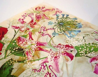 Vintage Wedding Bridal Shower Wrapping Paper Flower Bouquet Red Pink Roses Floral Gift Wrap