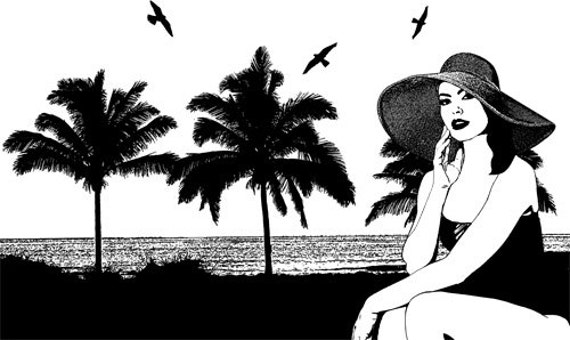 woman beach ocean palm trees black and white printable art clipart png clip art Digital Image graphics Download hat bathing suit summer