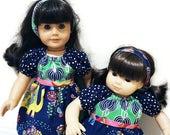 "CUSTOM LISTING for prettiaporter - m2m Matilda Jane doll dresses for 15"" baby doll and 18"" girl doll, pink blue flowers navy green elephant"