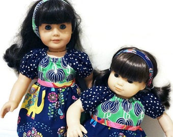 "CUSTOM LISTING for prettiaporter - m2m Matilda Jane doll dresses for 15"" baby doll and 18"" girl doll, pink blue flowers navy green elephant"
