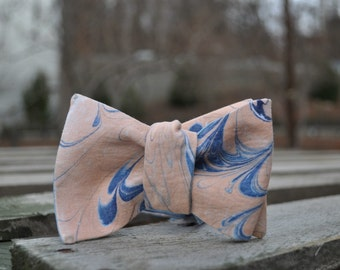 Self Tie Bow Tie Blue and Orange Made in Asheville, NC MM#14-4a