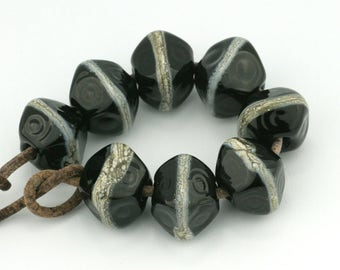 Classic Crystal Black with Siver Streak Handmade Glass Lampwork Beads (8 Count) by Pink Beach Studios - SRA (2269)