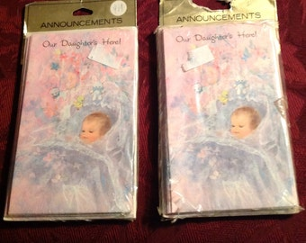 2--Vintage 1970's Packages--Baby GIRL--Baby Announcements--Our Daughter's Here--20 Cards In All--New Old Stock