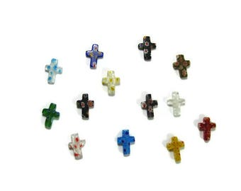 17 mm Millefiori Cross Beads Set of 2