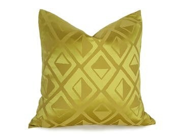 Chartreuse Accent Pillow, Solid Chartreuse Pillow Covers, Yellow Green Pillows, Vibrant Green Designer Pillow, Diamonds, 12x18, 18, 20 NEW