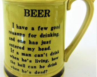 Rare Collectible Retro Home Bar Man Cave Collectible Beer Mug Trinket Dish Japan Golden Yellow Tankard Stein Enesco Poem