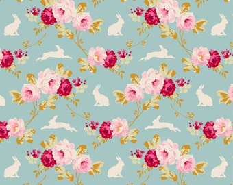 Tilda Fabric, Tilda Rabbit & Roses Teal Fat Quarter, Memory Lane Collection, Tilda Cotton Fabric 481284, Fat Quarter, 50 cm x 55 cm