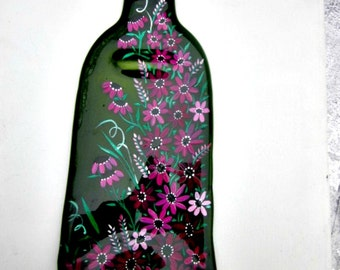 Melted Wine Bottle Serving Tray, Cheese Tray,  Spoon Rest, Kitchen Trivet, Dark  Green Wine Bottle Hand Painted with Mauve Flowers
