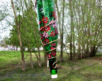 Hummingbird Feeder,  Recycled Green Wine Bottle, Hand Painted with Shades of Red Flowers, Bird Feeder, Wrapped in Copper Wire