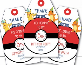 Instant Download - Editable Pokemon Birthday Party Favor Tags Goody Bag Tags
