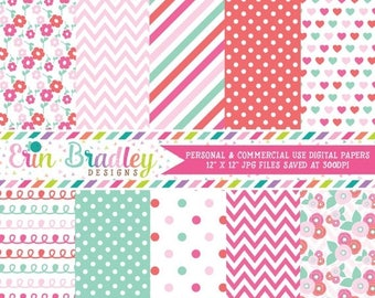 50% OFF SALE Floral Digital Paper Pack in Pink and Aqua Blue Flowers Hearts Chevron Stripes Doodles Polka Dotted Patterns
