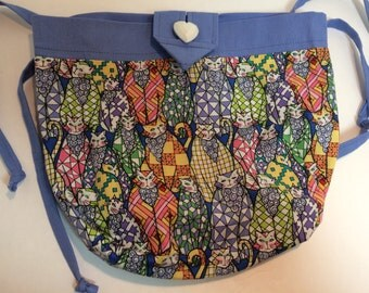 Blue Patchwork Cats Sidekick Knitting Pouch Fanny Pack
