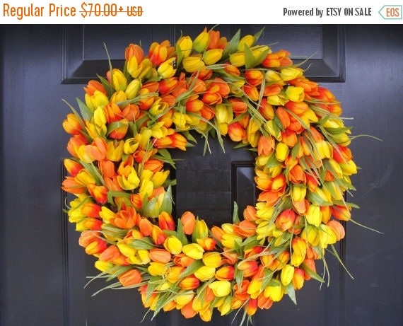 SPRING WREATH SALE Spring Wreath, Tulip Spring Wreath Custom, Spring Decor, Easter Wreath, Housewarming Gift, Orange Tulip Wreath
