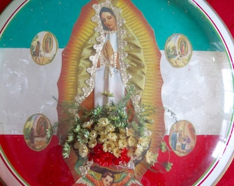 Vintage Mexican Chromo 3-D Fabric Guadalupe Shrine- Perfect for your altar