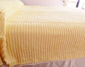 Yellow Plush Chenille Bedspread, Yellow Chenille Bedspread, Vintage Full Bedspread,