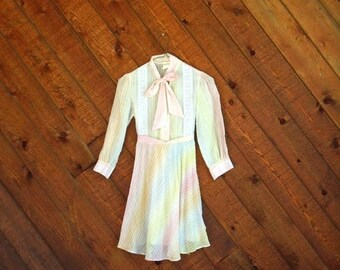 25% off Flash Sale . . . Rainbow Striped Girls Mini Dress - Vintage 60s 70s