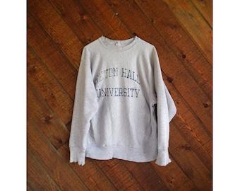 Seton Hall University Distressed Pullover Sweatshirt - Vintage 80s - MEDIUM
