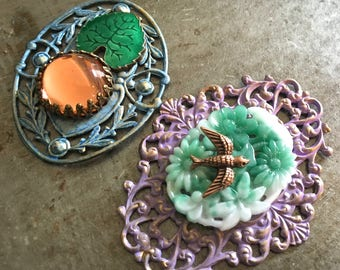 Vintage Filigree Hand Patina Glass Cabochons DIY Two Pieces Giverny Assortment