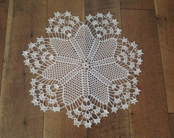 Off white /Cream color crochet Lace Doily, off white  Crochet Doily, Cream Lace Doily, made by Demet, Free shipping in the US