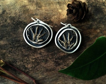 hand print earrings, sterling silver, cave painted hand, archeology gift, natural history gift, primitive art jewelry