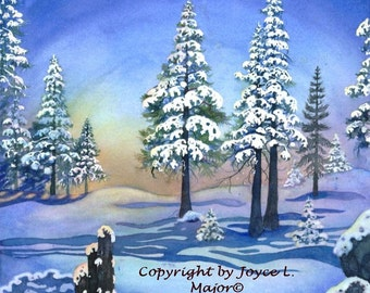 "Watercolor print, ""Tahoe Winter Moon"""