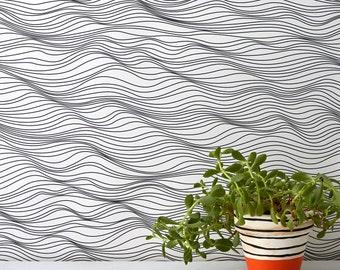 Linear Waves Wallpaper, Waves Wallpaper, Blue Wallpaper, Home Decoration, Coast Inspired Wallpaper, Dark Grey Wallpaper