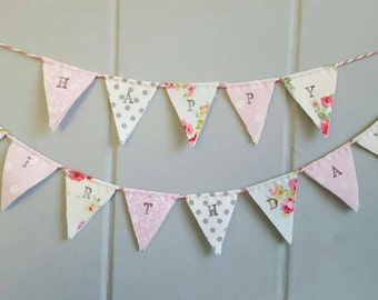 Cottage Chic Cake Bunting - Happy Birthday Cake Topper - Wedding Cake Topper - Baby Shower Christening Decor